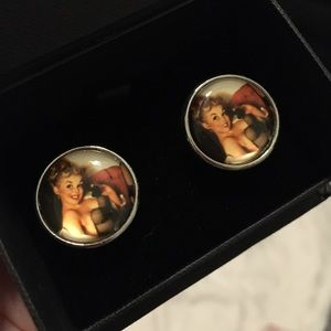 Pin up girl cuff links